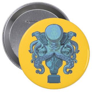 Octopus Emblem blue Pinback Buttons