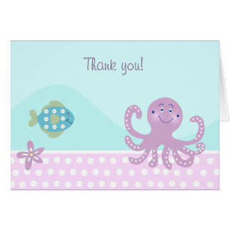 OCTOPUS & FISH Folded Thank you notes Stationery Note Card