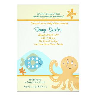 Octopus & Fish Ocean 5x7 Baby Shower Invitation