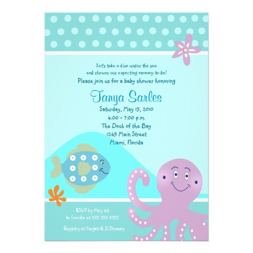 Personalized ocean baby shower invitations custominvitations4u octopus fish ocean 5x7 baby shower invitation filmwisefo