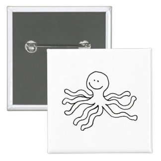 Octopus - fun line drawing happy art logo design button