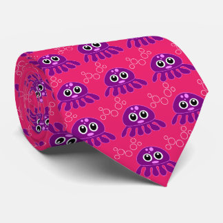 octopus girl purple with red background neck tie