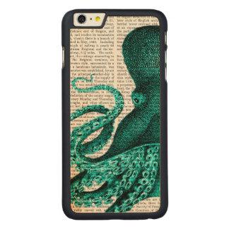 Octopus Green Half Carved Maple iPhone 6 Plus Slim Case