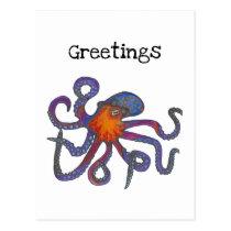 Octopus Greetings Postcard