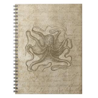 Octopus Grunge Script Vintage Squid Paper Notebook