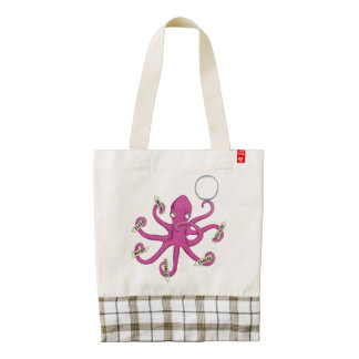 Octopus holding signals  I never know where to go Zazzle HEART Tote Bag
