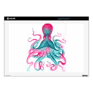 "Octopus illustration - vintage - kraken 17"" laptop decal"