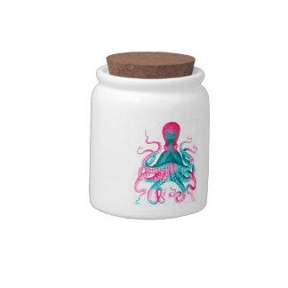 Octopus illustration - vintage - kraken candy jar