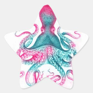 Octopus illustration - vintage - kraken star sticker