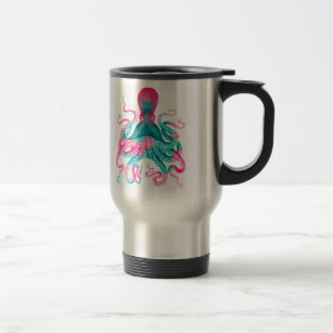 Octopus illustration - vintage - kraken travel mug