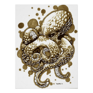 octopus in sepia poster