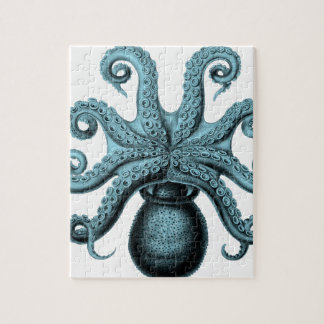 Octopus in Teal Jigsaw Puzzle