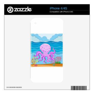 Octopus in the ocean skin for iPhone 4S