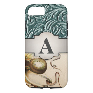 Octopus Initial Shades of Green Vintage Scrollwork iPhone 8/7 Case