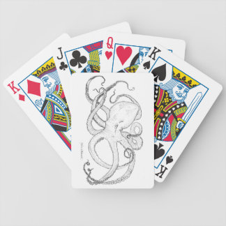 Octopus Ink Drawing Black and White Bicycle Playing Cards