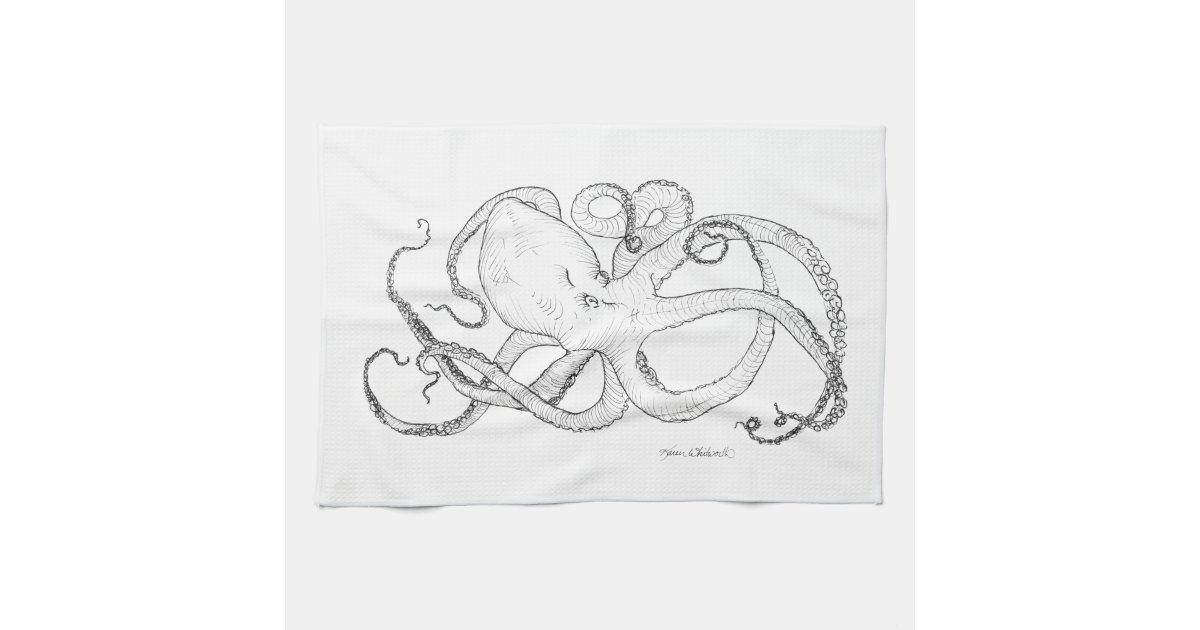 octopus ink drawing black and white kitchen towel zazzlecom