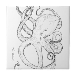 Octopus Ink Drawing Black and White Tile