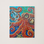 """octopus jigsaw puzzle<br><div class=""""desc"""">products created from the original painting by Dawn Tarr www.dawntarr.com</div>"""