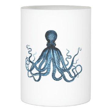 Beach Themed Octopus kraken nautical coastal ocean beach blue flameless candle