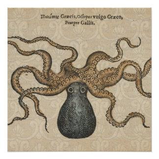 Octopus Kraken vintage Print illustration Art