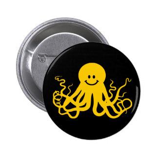 Octopus Kraken Yellow Smiley Pin