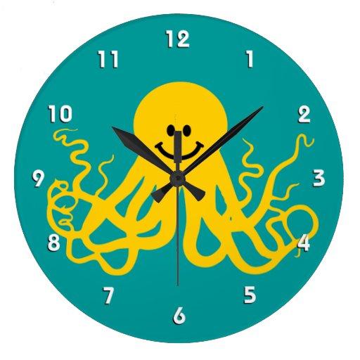 Octopus / Kraken Yellow Smiley Clock