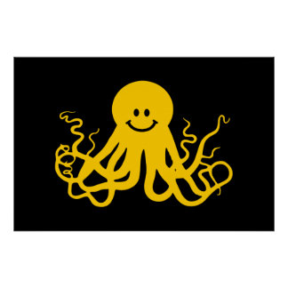 Octopus / Kraken Yellow Smiley Poster
