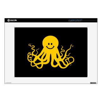 """Octopus / Kraken Yellow Smiley 15"""" Laptop Skin"""