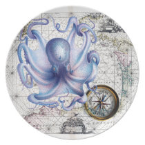 Octopus Map Nautica Dinner Plate