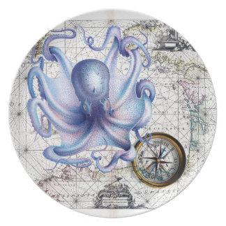 Octopus Map Nautica Dinner Plate