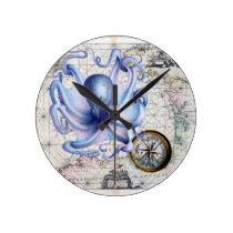 Octopus Map Nautica Round Clock
