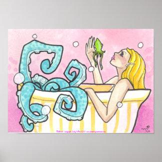 Octopus Mermaid in Bathtub fantasy art poster