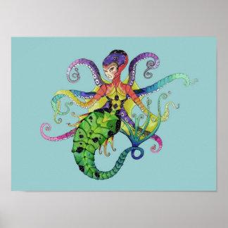 Octopus Mermaid Poster print