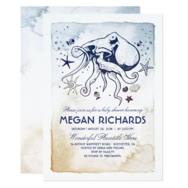 Beach Themed Octopus Nautical Beach Baby Shower Card