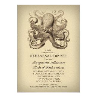 octopus nautical beach rehearsal dinner 5x7 paper invitation card