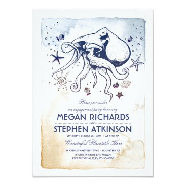 Octopus Nautical Engagement Party Card