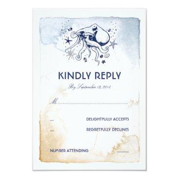 Beach Themed Octopus Nautical Navy Watercolors Wedding RSVP Card
