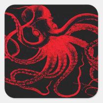 Octopus Nautical Steampunk Vintage Kraken Monster Square Sticker
