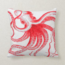 Octopus Nautical Steampunk Vintage Kraken Monster Throw Pillow