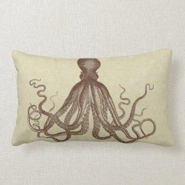 Beach Themed Octopus Nautical Vintage Brown Beach House Lumbar Pillow