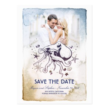 Beach Themed Octopus Nautical Watercolors Photo Save the Date Postcard