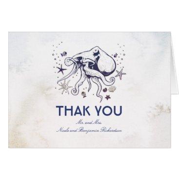 Beach Themed Octopus - Nautical Wedding Thank You Card