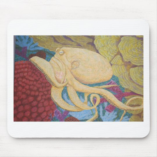 Octopus on a coral reef mouse pad