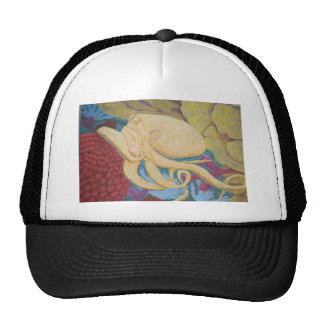 Octopus on a coral reef trucker hat