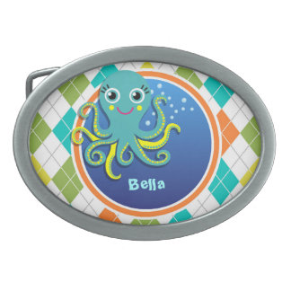 Octopus on Colorful Argyle Pattern Oval Belt Buckle