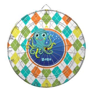 Octopus on Colorful Argyle Pattern Dartboard With Darts