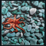 "Octopus Pebbles Napkin<br><div class=""desc"">A surprising little octopus pops from the pebbles beneath your feet,  arms twirling as it navigates the sea floor. A perfect gift for your sea-loving family and friends! Customize with your own text.</div>"