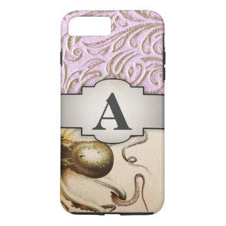 Octopus Pink Beige Vintage Pattern Scrollwork iPhone 8 Plus/7 Plus Case