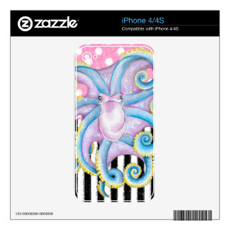 octopus pink pattern decals for iPhone 4S