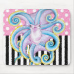 octopus pink pattern mouse pad